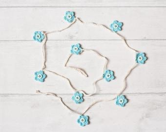 Turquoise Crochet Flower Garland, Turquoise Bunting, Crochet Bunting, Flower Bunting, Crochet Garland, Crochet Flower Mobile, Nursery Decor