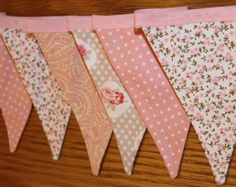 Pink floral bunting, shabby chic bunting, pink banner, floral bunting, floral banner, shabby chic decor