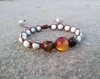 White Shamballa bracelet Energy Howlite bracelet Healing Protection bracelet Boho macrame jewelry White bracelet for teen Braided bracelet