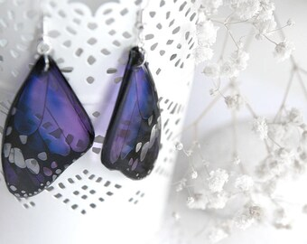 Unusual gift for wife gift from husband gift Purple earrings Resin jewelry Butterfly wing earrings for gift for mother from son gift idea