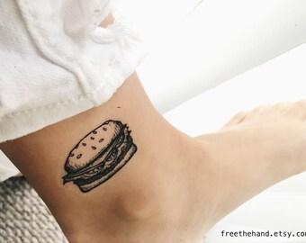 Burger Temporary Tattoo (Set of 2)