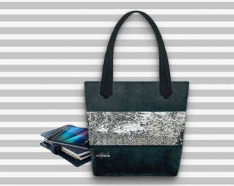 Sequin Tote Bag | White and Silver Sequin Bag | Two Tone Sequin Bag | Reversible Sequins Bag | Shopping Bag