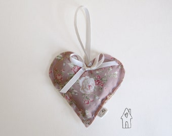 Floral Lavender Heart, Lavender Sachet, Lavender Bag, Hanging Heart, Shabby Chic Home Decor, Bedroom Decor, English Lavender Old Flour House