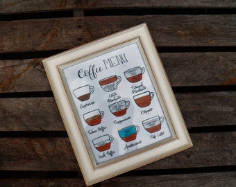 Coffee Chart 8x10 Art Print