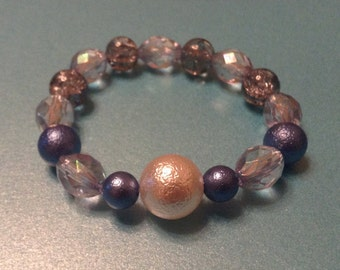 Blue & Clear Beaded Bracelet
