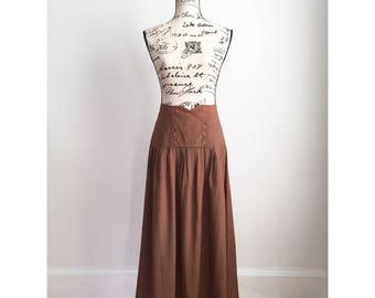 1980s Long Brown Skirt, Vintage Long Brown Skirt