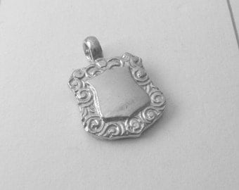Genuine Solid 925 Sterling Silver Double-Sided Shield Pendant