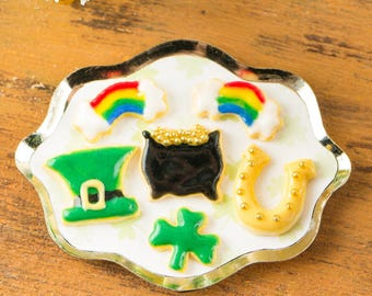 St. Patrick's Day Cookies on Tray - 1:12 Dollhouse Miniature