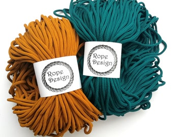 Textile 6mm fil Chunky polyester coton de couleur corde 100 yard corde solide en macramé projet cordon textile souple en corde tressée de métier projet de corde