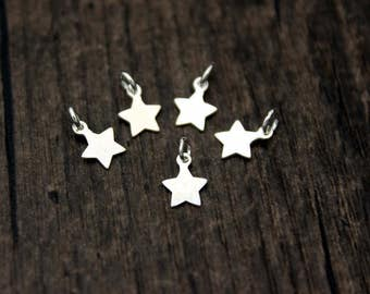 10PCS Sterling Silver Star Charm Pendant,Pentagram Charm ,Five-pointed star