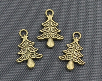 20pcs Christmas Tree Charm Antique Bronze Tone 14x21mm - SH360