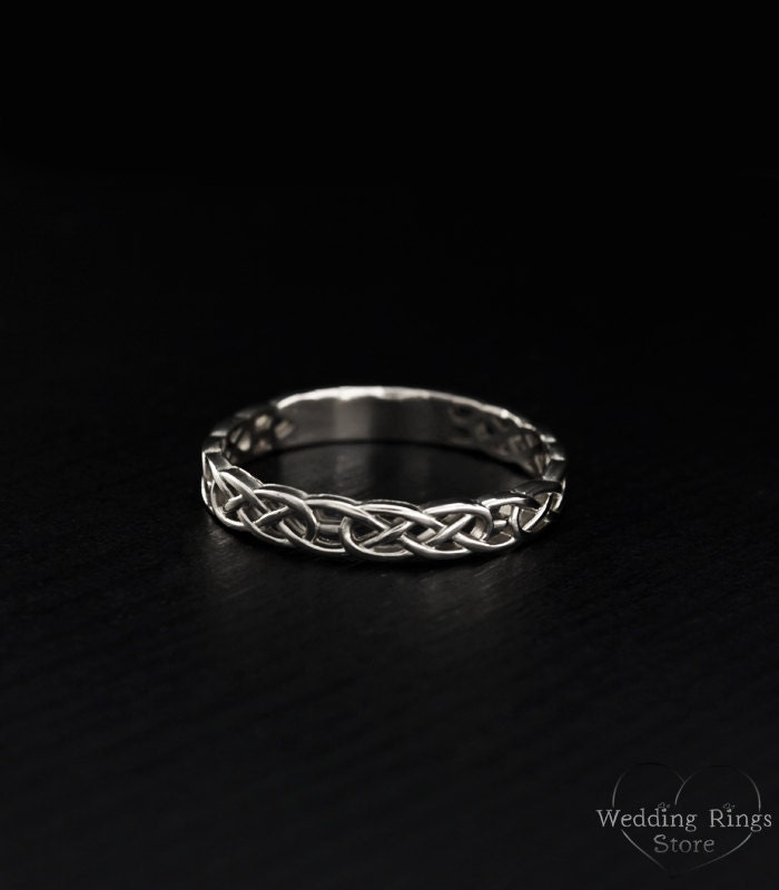 Celtic Pattern Wedding Ring Celtic Silver Engagement Ring