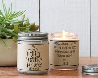 Happily Ever After Soy Candle Gift - Valentine's Day Gift | Personalized Valentine | Anniversary Gift | Save The Date |