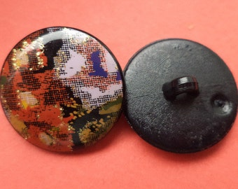 10 black multi colored buttons 21mm (1890) button jacket buttons