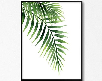 Palm Leaves, Palm Leaf Watercolor, Tropical Wall Art, Leaf Painting, Greenery Print, Plants Poster, Art Download, Watercolor illustrations.