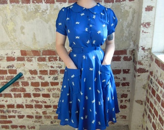 40's Pocket 'Thelma' Skirt in Bluebird by The Seamstress of Bloomsbury