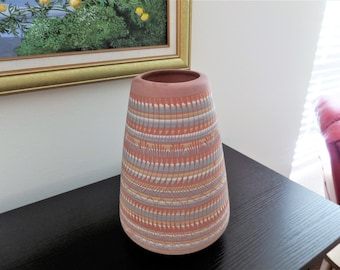 Vintage Navajo Red Clay Pottery Vase - Signed 1996