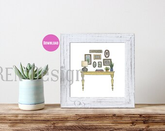 Table Watercolor Print - Download - Two Sizes - 8x8 and 8x10