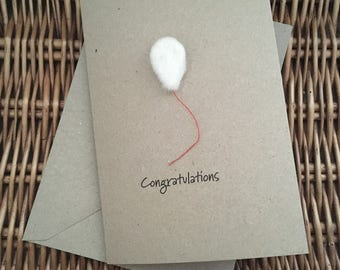 Congratulations balloon greeting card hand-felted on recycled kraft card