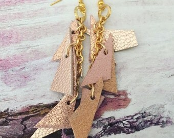 Rose Gold Leather Charm Earrings