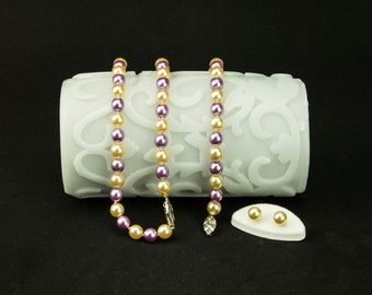 Stunning Vintage 'Perlas Mallorca' Pearls Set – Necklace, Bracelet & Earrings, Champagne Lilac Purple Colour, 1980s
