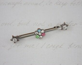 40s Paste Bar Brooch - Multi Colour Rhinestone Brooch - Flower Bar Pin - Vintage Stars Brooch - Retro Americana Brooch