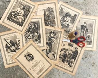 Victorian Boys illustrations, Ephemera for scrapbooking