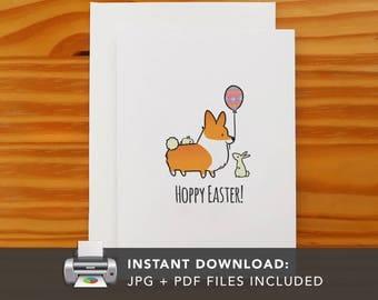 PRINTABLE Hoppy Easter Card | Printable Greeting Cards | Happy Easter Bunny Corgi Greeting Card | Instant Download JPG PDF