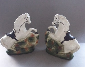 Vintage Pair of Staffordshire Horses Pottery Figurines