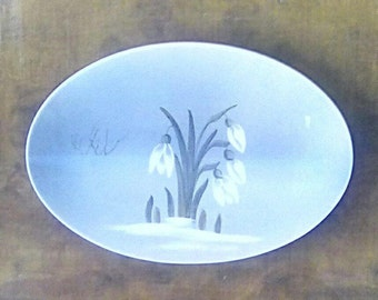 Vintage Royal Copenhagen Pin Dish Floral Snowdrops Dish 1963 Blue and White Porcelain Collectible