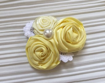 Yellow Flower Hair Clip/Lemon Party/Flower clip/Yellow and Lace Hair Clip
