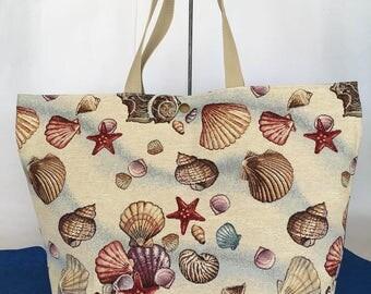 Shell-Shopper gobelin, handmade piece of beach collection, maritime design.