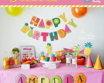 Tutti Frutti Party Printable | Mix Match A la Carte | Girls Birthday Summer Twotti Frutti Fruit Party | Digital PDF | DIY Banner Favor etc