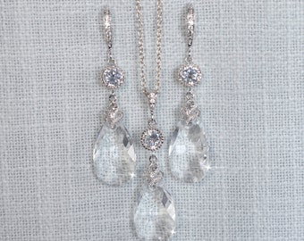 Handmade Swarovski Crystal Clear Dangle Necklace & Earrings Set, Bridal, Wedding (Sparkle-2699)