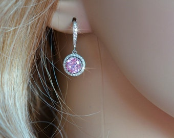 Handmade Micro Pave Light Pink Cubic Zirconia CZ Dangle Bridal Earrings, Bridal, Wedding (Sparkle-2614)