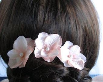 Set of 3 Handmade Pearlized Blush Pink Hydrangea Flower or Bobby Hair Pins, Bridal, Wedding (Pearl-446)