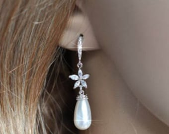 Handmade Cubic Zirconia CZ Starfish and Swarovski Teardrop Pearl Dangle Bridal Earrings, Bridal, Wedding (Pearl-477)