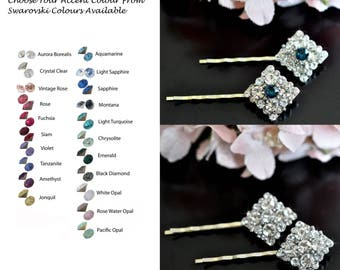 Choose Your Accent Colour--Set of 2 Beautiful Handmade Vintage Inspired Crystal Rhinestone Hair Pins, Bridal, Wedding (Sparkle-2446)