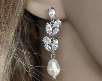 Handmade Vintage Inspired Fancy Cut Cubic Zirconia and Pear Pearl Dangle Earrings, Bridal, Wedding (Pearl-351)