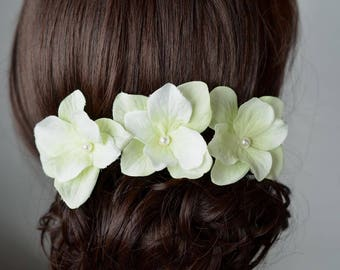 Set of 3 Handmade Pale Lime Green Hydrangea Flower Hair or Bobby Pins, Bridal, Wedding (Pearl-799)