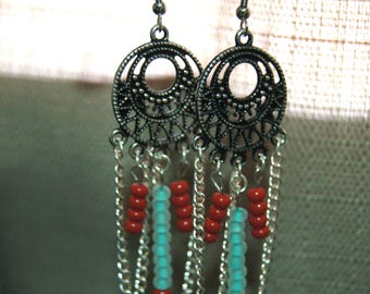 Hanging Chain Red and Turquoise Blue Beaded Dangly Chandelier Earrings Nickel Free