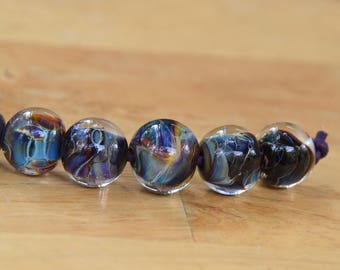 6 Handmade Blue and Coffee Swirl Lampwork Beads.   Glass Beads for Jewelry Projects.  13mm Lampwork Beads. 14mm Lampwork Beads.