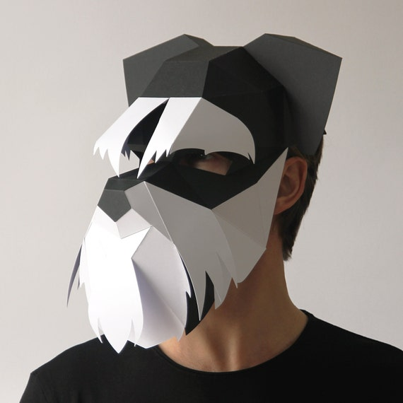 Dog Mask Build Your Own Schnauzer 3d Dog Mask From Card