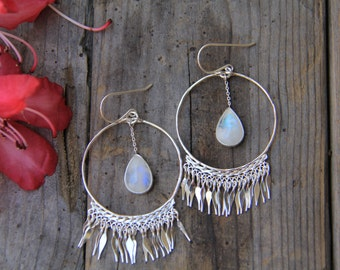 Ethereal Air Earrings, Moonstone Earrings, Sterling Silver Earrings, Boho Earrings, Gypsy Earrings, Dangle Earrings, Sunsara Jewellery