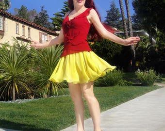 Circle mini skirt. Yellow chiffon. Ameynra design. Size S. New