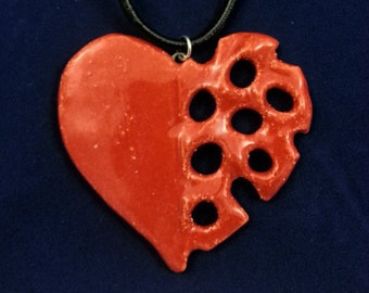 Unique Handmade Red Glazed Ceramic PotteryClay Pierced Heart Pendant with Real Leather Cord (3)