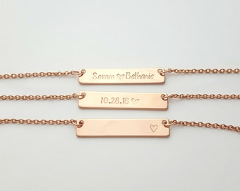 Custom Stamped Necklace, Personalized Jewelry, Gift for Her, Hand Stamped Bar Necklace, Name Necklace, Simple Necklace, Rose Gold, Custom