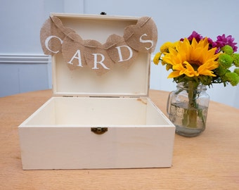 Wooden Rustic Vintage WEDDING CARDS BOX Suitcase Bunting Display