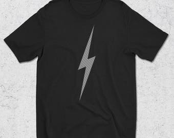 White Lightning Bolt Graphic Tee - Graphic Design T-Shirt -Striped Lighting bolt - Electric tshirts - Bolt Mens gift - mens tshirt