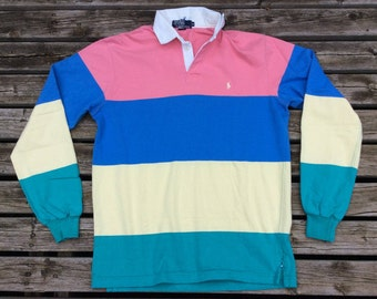 Vintage 80's/90's Polo Pony Ralph Lauren Rugby Multi-Color pastel Medium Made in USA